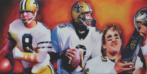 Saints Artwork - Archie Manning, Bobby Hebert and Drew Brees