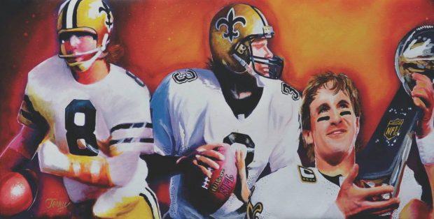 Saints Artwork - Archie Manning, Bobby Hebert and Drew Brees