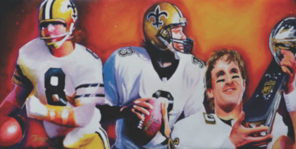 New Orleans Saints Artwork featuring Archie Manning, Bobby Hebert and Drew Brees