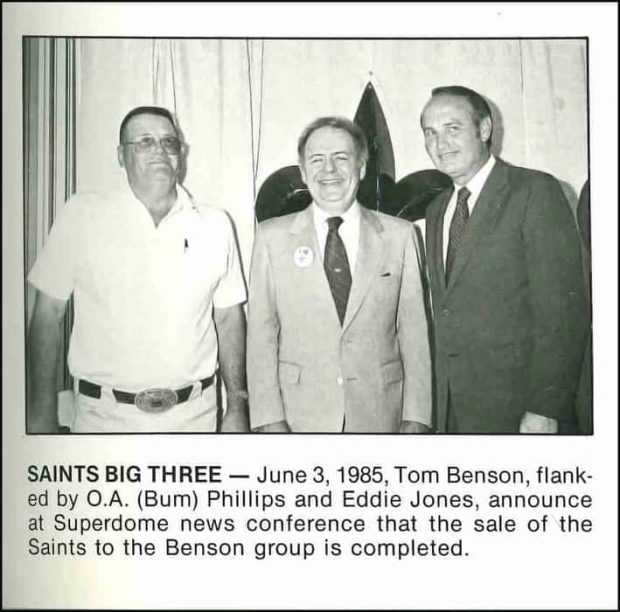 Bum Phillips with New Owner Tom Benson   1985 New Orleans Saints