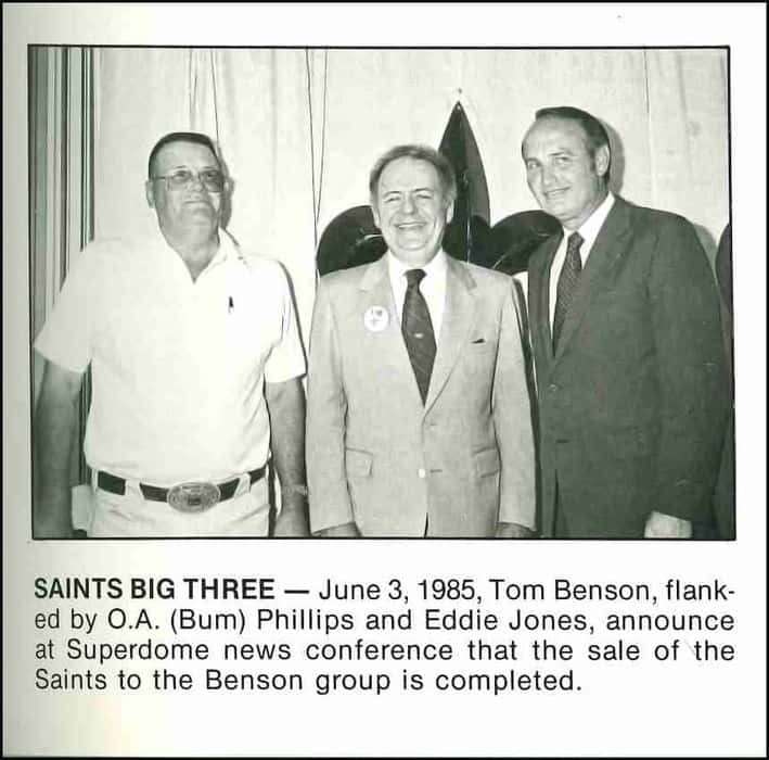 Bum Phillips with New Owner Tom Benson | 1985 New Orleans Saints
