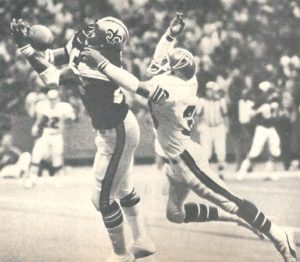 New Orleans Saints Henry Childs makes a catch in 1977 against the Falcons